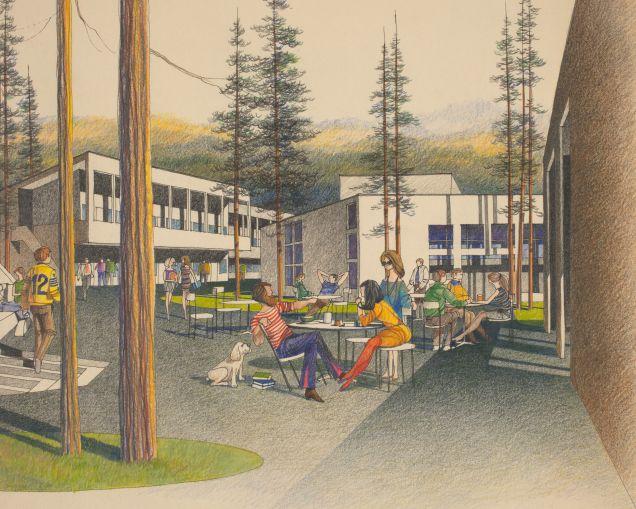 UCSC Kresege College, Santa Cruz, CA, 1966, William Turnbull / MLTW Collection; courtesy Environmental Design Archives, University of California, Berkeley